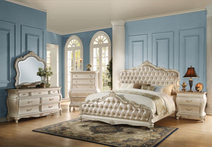 ACME Chantelle Queen Bed Rose Gold PU & Pearl White - 23540Q-Panel Beds-HipBeds.com