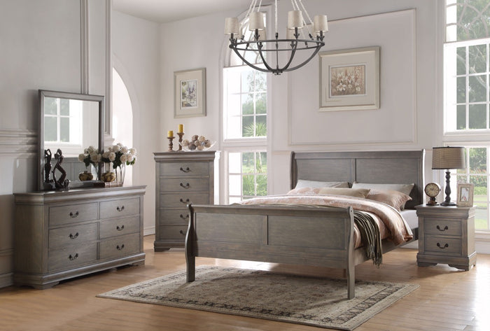 ACME Louis Philippe Eastern King Bed Antique Gray - 23857EK