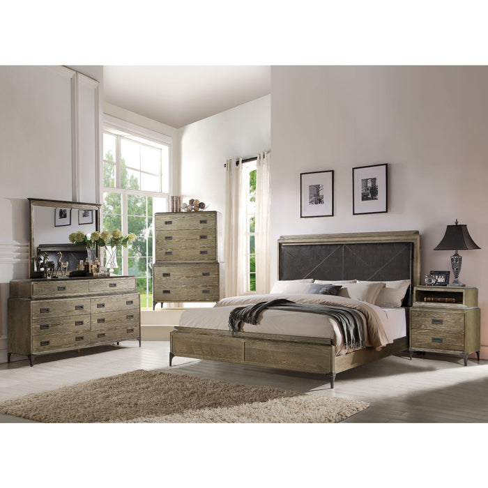 ACME Athouman Eastern King Bed (Panel) PU & Weathered Oak - 23907EK