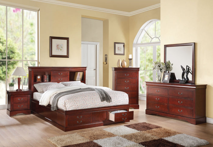 ACME Louis Philippe III - Eastern King Bed w/Storage Cherry - 24377EK