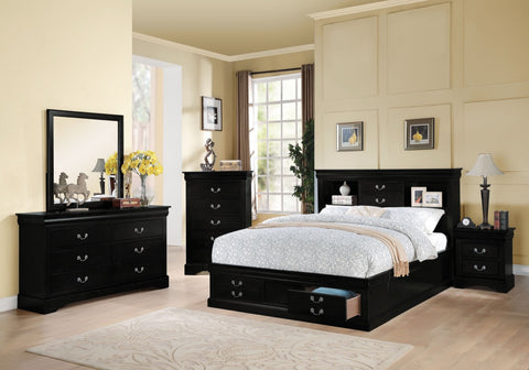 ACME Louis Philippe III - California King Bed w/Storage Black - 24384CK-Platform Beds-HipBeds.com