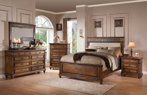 ACME Arielle Eastern King Bed Cream Linen, Slate & Oak - 24437EK-Panel Beds-HipBeds.com