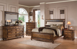 ACME Arielle Queen Bed Cream Linen, Slate & Oak - 24440Q-Panel Beds-HipBeds.com