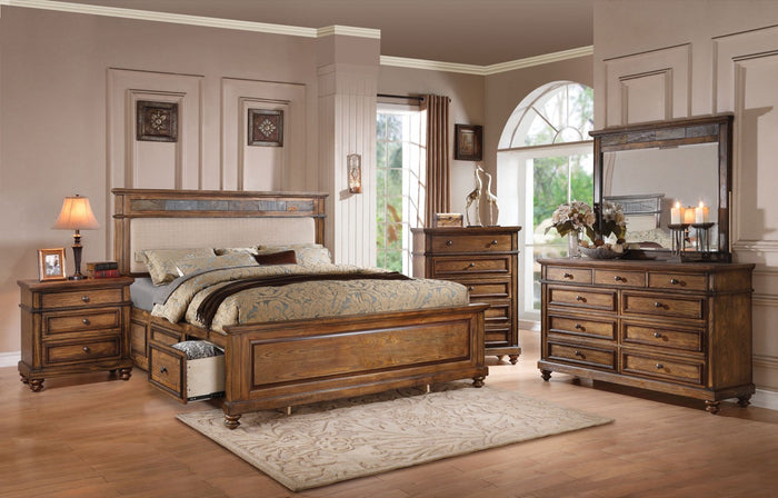 ACME Arielle Eastern King Bed w/Storage Cream Linen, Slate & Oak - 24457EK
