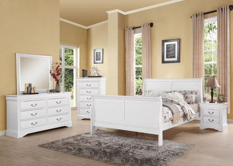 ACME Louis Philippe III Eastern King Bed White - 24497EK-Sleigh Beds-HipBeds.com