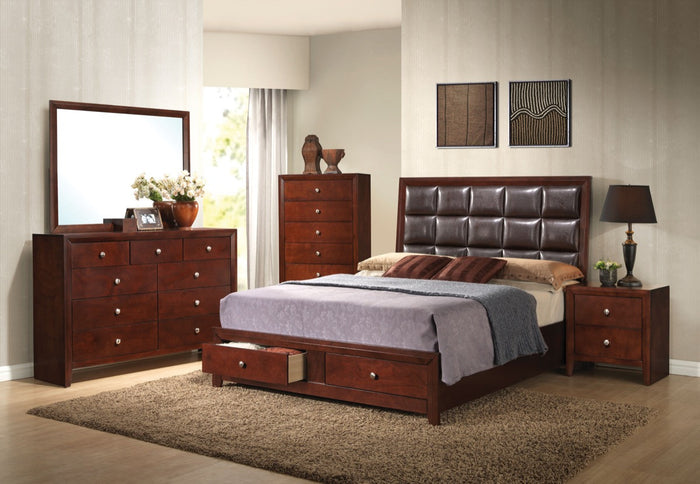 ACME Ilana Queen Bed w/Storage Brown Cherry & Brown PU - 24590Q