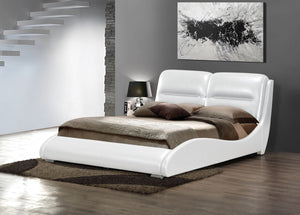 ACME Romney Eastern King Bed White PU - 24717EK-Platform Beds-HipBeds.com