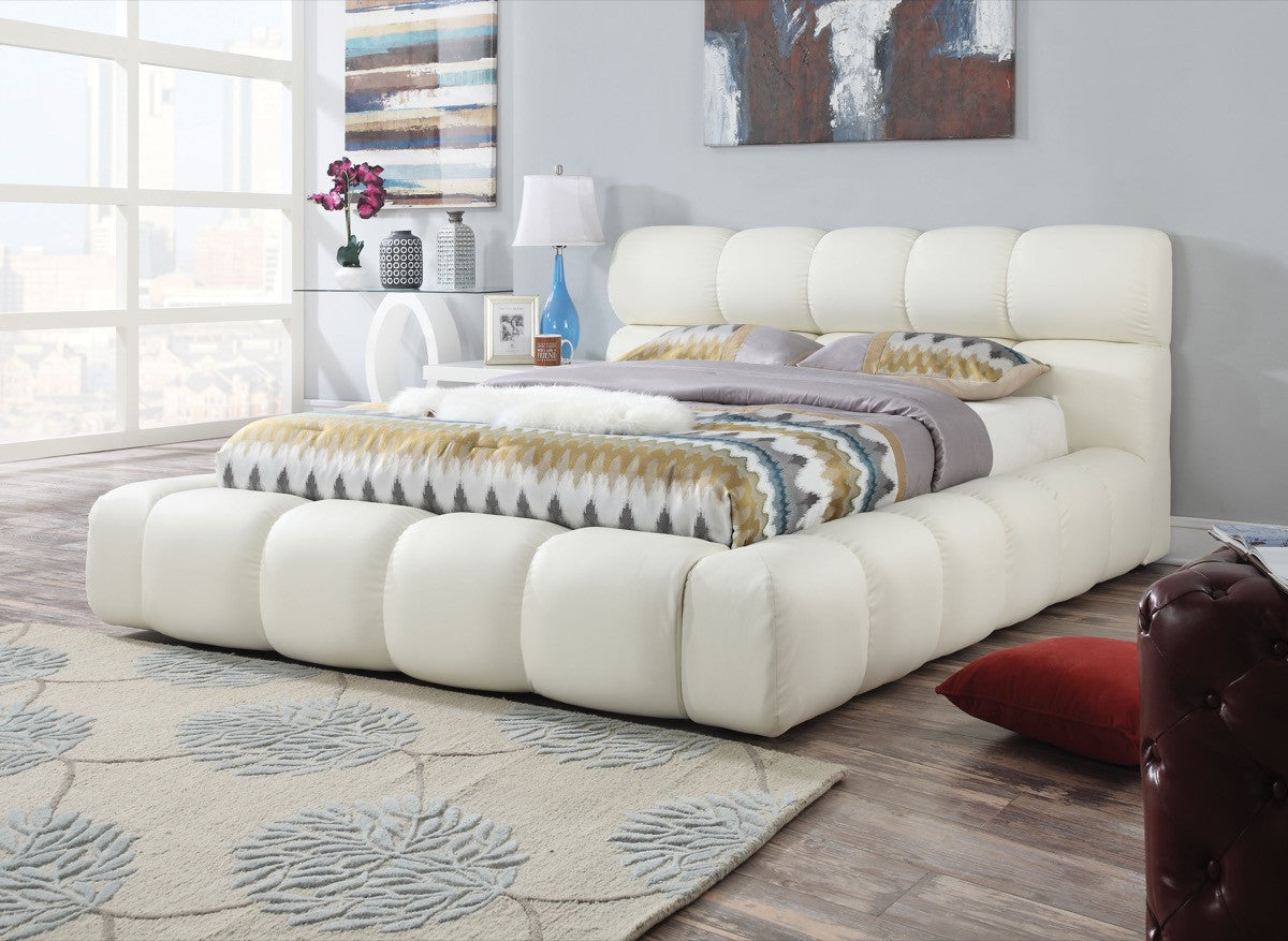 eastern king bed ACME Acacia Eastern King Bed Ivory PU - 25047EK-Panel Beds-HipBeds.com