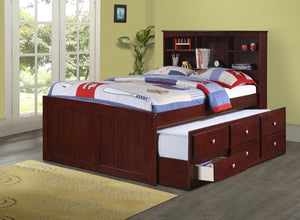 Donco Kids Full Bookcase Captains Bed 250-FCP-Bookcase Beds-HipBeds.com