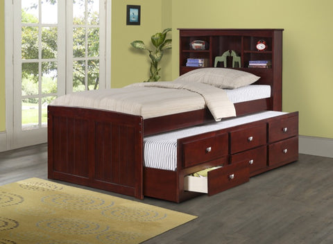 Donco Kids Twin Bookcase Captains Bed 250-TCP-Bookcase Beds-HipBeds.com