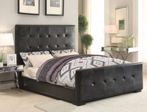 ACME Lorelei Eastern King Bed Black PU - 25227EK-Panel Beds-HipBeds.com
