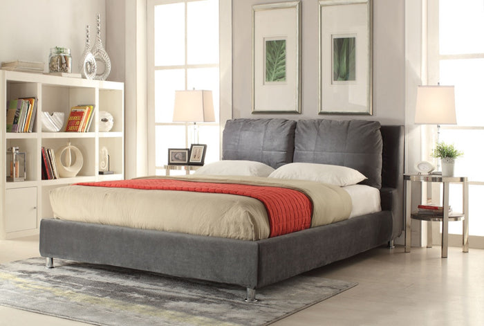 ACME Bywilde Eastern King Bed Dark Olive Gray Fabric - 25257EK