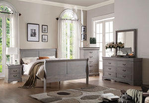 ACME Louis Philippe III Queen Bed Antique Gray - 25500Q-Sleigh Beds-HipBeds.com