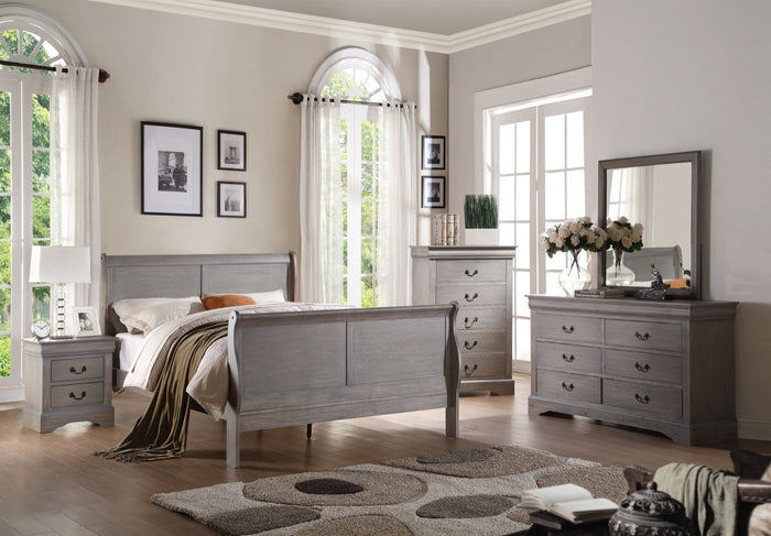 ACME Louis Philippe III Queen Bed Antique Gray - 25500Q