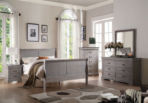 ACME Louis Philippe III Queen Bed Antique Gray