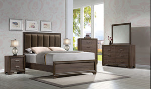 ACME Cyrille Queen Bed (Padded HB) Fabric & Walnut - 25850Q-Platform Beds-HipBeds.com