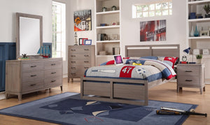 Donco Kids Twin Panel Bed Weathered Grey 2611TWG-Panel Beds-HipBeds.com