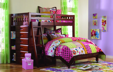 Donco Kids Twin Full Tall Loft Bed Merlot 2805-Loft Beds-HipBeds.com