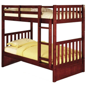 Donco Kids Twin/Twin Misson Bunk Bed Merlot 2810-Bunk Beds-HipBeds.com