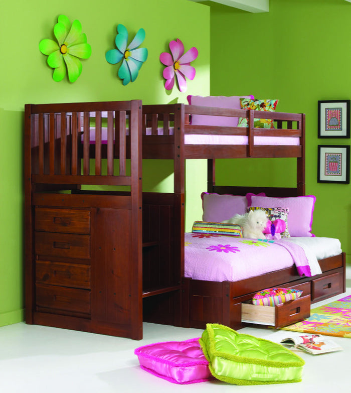 Donco Kids Twin Full Stairway Bunk Bed Merlot 2814-T/F