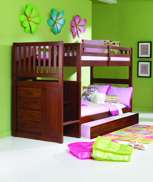Donco Kids Twin Full Stairway Bunk Bed Merlot 2814-T/F-Bunk Beds-HipBeds.com