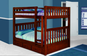 Donco Kids Full/Full Mission Bunk Bed Merlot 2815-Bunk Beds-HipBeds.com