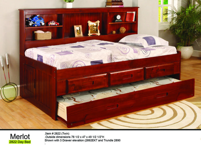 Donco Kids Twin Bookcase Daybed Bed Merlot 2822