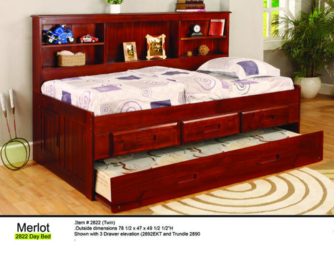 Donco Kids Twin Bookcase Daybed Bed Merlot 2822-Bookcase Beds-HipBeds.com