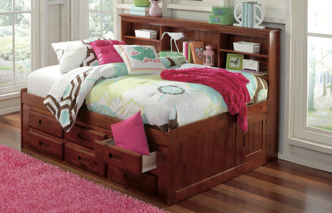 Donco Kids Full Bookcase Daybed Bed Merlot 2823-Bookcase Beds-HipBeds.com