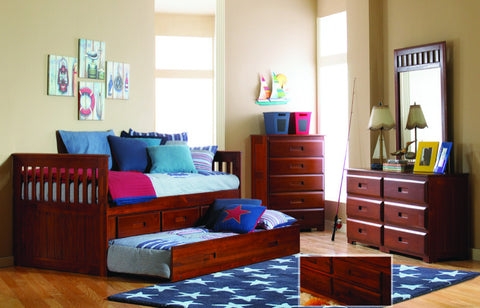 Donco Kids Twin Mission Rake Bed Merlot 2835-Bookcase Beds-HipBeds.com