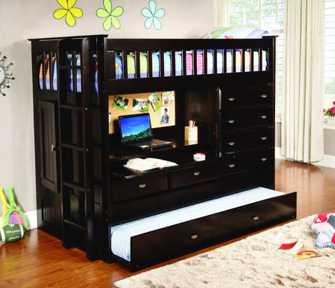 Donco Kids All In One Loft Bed Dark Espresso 2903-Loft Beds-HipBeds.com