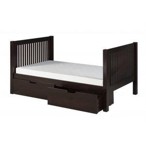 Camaflexi Full Size Platform Bed with Drawers - Mission Headboard - Cappuccino Finish - C1412_DR-Platform Beds-HipBeds.com
