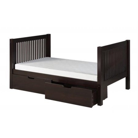 Camaflexi Full Size Platform Bed with Drawers - Mission Headboard - Cappuccino Finish - C1412_DR