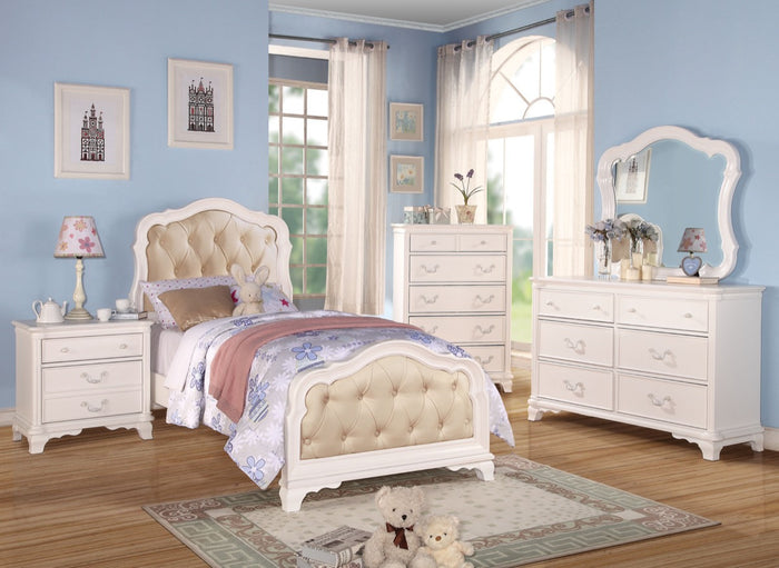 ACME Ira Full Bed PU & White - 30140F