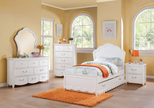 ACME Cecilie Full Bed (Wooden HB) White - 30315F-Panel Beds-HipBeds.com