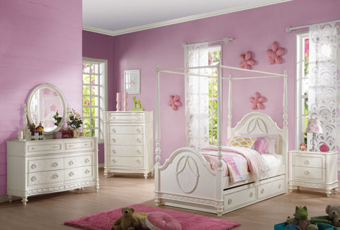 ACME Dorothy Twin Bed (Wooden Poster) Ivory - 30360T-Canopy Beds-HipBeds.com