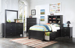 ACME Mallowsea Twin Bed w/Storage Rail Black - 30390T-Platform Beds-HipBeds.com