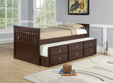 Donco Kids Twin Captains Trundle Bed 303-TCP-Bookcase Beds-HipBeds.com