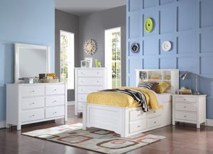 ACME Mallowsea Twin Bed w/Storage Rail White - 30420T-Platform Beds-HipBeds.com