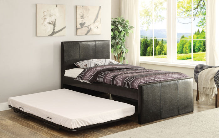 ACME Jandale Twin Bed & Trundle Black PU - 30480T