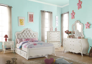 ACME Edalene Twin Bed Pearl White - 30505T-Platform Beds-HipBeds.com