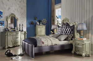 ACME Vendome Queen Bed Gray Fabric & Champagne - 30690Q-Platform Beds-HipBeds.com