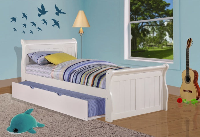 Donco Kids Twin Sleigh Bed White 325-TW