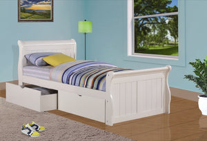Donco Kids Twin Sleigh Bed White 325-TW-Sleigh Beds-HipBeds.com