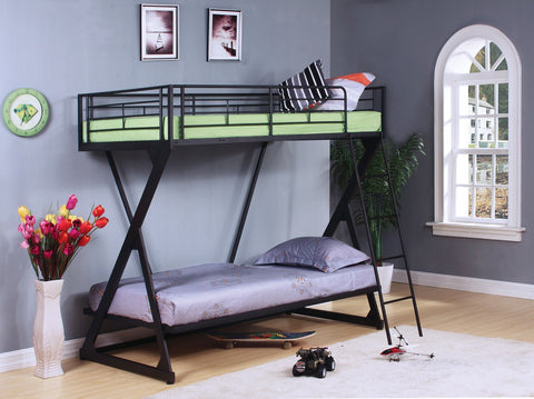 ACME Zazie Twin/Twin Bunk Bed Sandy Black