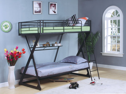 ACME Zazie Twin/Twin Bunk Bed w/Bookshelf Sandy Black