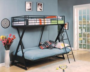 ACME Zazie Twin/Full/Futon Bunk Bed Sandy Black - 37134-Bunk Beds-HipBeds.com