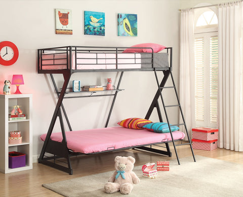 ACME Zazie Twin/Full/Futon Bunk Bed w/Bookshelf Sandy Black-1