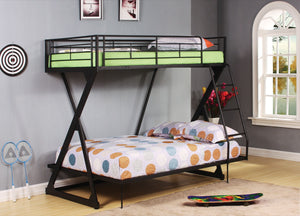 ACME Zazie Twin/Full Bunk Bed Sandy Black - 37140-Bunk Beds-HipBeds.com