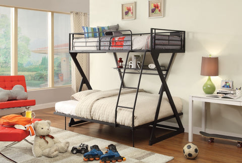 ACME Zazie Twin/Full Bunk Bed w/Bookshelf Sandy Black